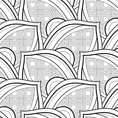 Monochrome Seamless Pattern with Ethnic Motifs. Endless Texture with Abstract Design Element. Art Deco, Nouveau, Islamic, Arabic Style. Coloring Book. Vector Contour Illustration. Ornate Abstraction