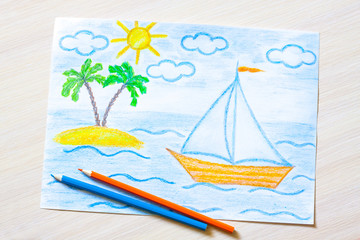 """Handmade pencils drawing """"Sailing boat and palms island in the sea"""""""