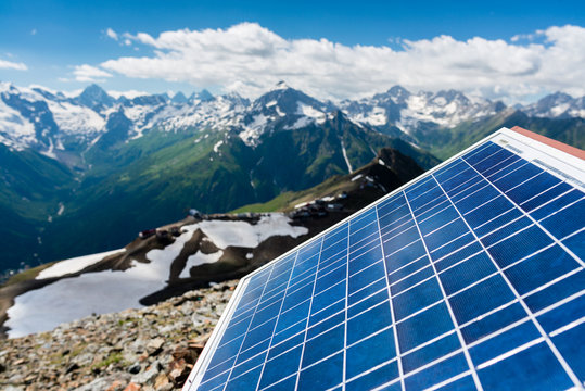 solar panel on the background of mountains