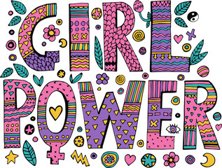 Psychedelic hippie Girl Power lettering