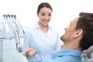Handsome man at dentist's office