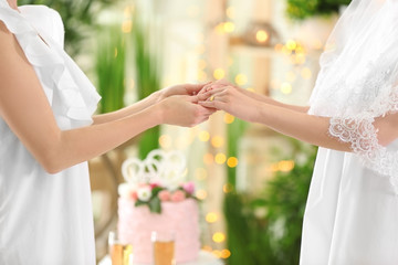 Young brides holding hands on lesbian wedding