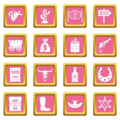 Wild west icons pink