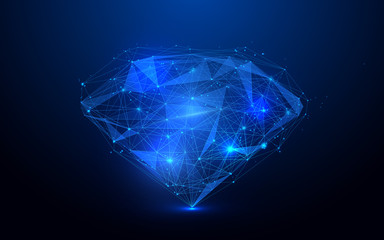 Low polygon diamond wireframe mesh on blue background