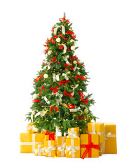 Beautiful Christmas tree with gifts on white background