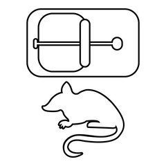 Mousetrap icon, outline line style