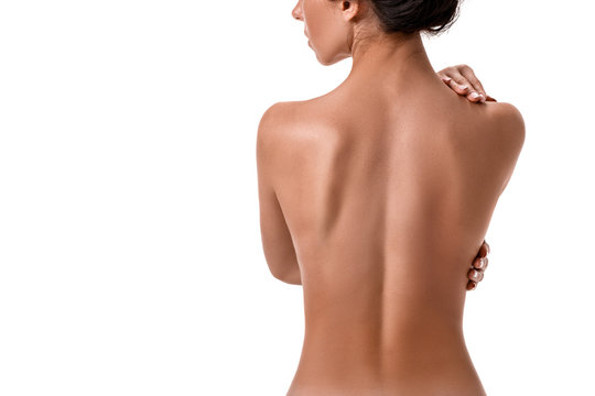 Young beauty nude women back, isolated on white.