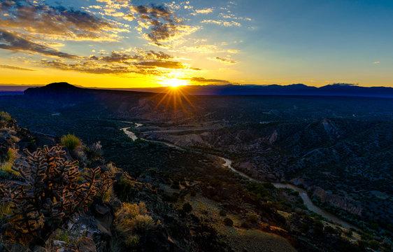 Sunrise over Rio Grande in Los Alamos New Mexico