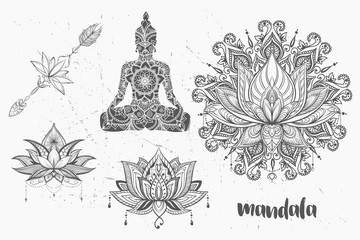 Mandala set and other elements. Vector. Mandala tattoo. , boho style, kaleidoscope, medallion, yoga, india, Arabic. circular pattern, sketch for tattoo