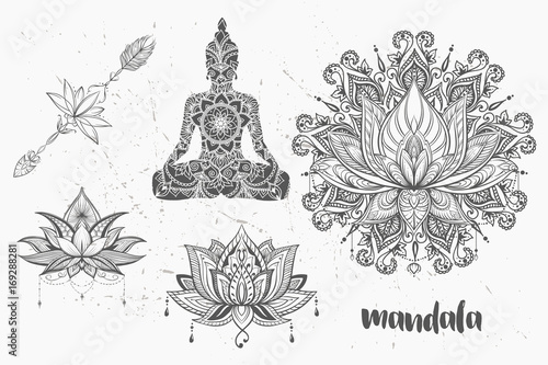 mandala set and other elements vector mandala tattoo. Black Bedroom Furniture Sets. Home Design Ideas