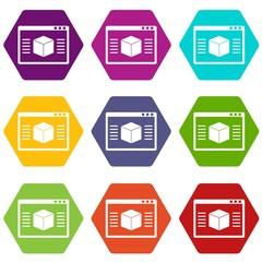 3d model icon set color hexahedron