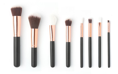 Collection makeup brushes isolated