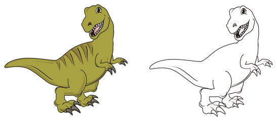 Dinosaur, reptile, raptor, rex, cartoon, illustration, isolated, hunter, stand, green, two, different, colored, coloring