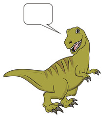 Dinosaur, reptile, raptor, rex, cartoon, illustration, isolated, hunter, stand, green, clean, callout, think