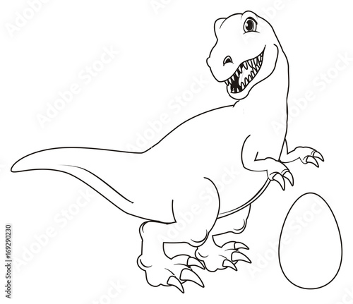 Dinosaur, reptile, raptor, rex, cartoon, illustration, isolated, hunter, stand, not colored, coloring, paint, egg,