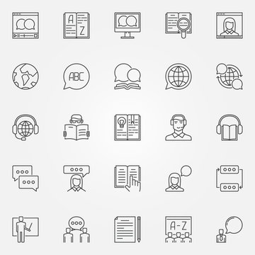Language learning outline icons