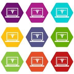Laptop with 3D design icon set color hexahedron