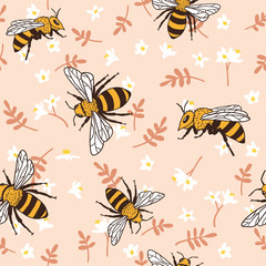 Vector seamless pattern with bees, leaves and flowers. Black and yellow texture