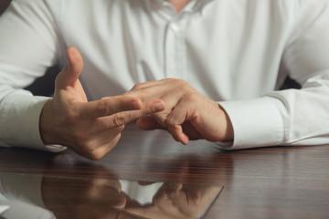 Gesticulation of hands. Male hands gesture.