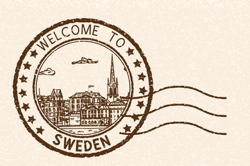 Welcome to Sweden. Brown postal stamp, round postmark with Stockholm sightseeings
