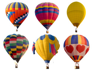 Set of colorful (multi colors) hot air balloon isolated on white background
