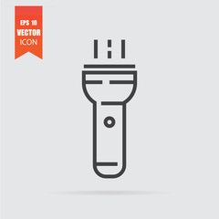 Flashlight icon in flat style isolated on grey background.