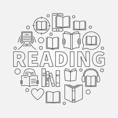 Reading round line illustration