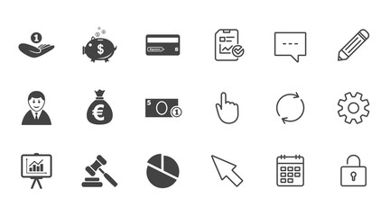 Money, cash and finance icons. Piggy bank sign.