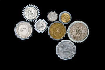 cogwheel coin on a black background