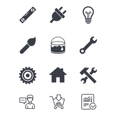 Repair, construction icons. Hammer, wrench tool.