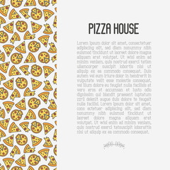 Pizza concept with thin line icons. Vector illustration for flyer, banner or menu of restaurant.