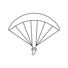 Black outline icon of paraglider on white background. Line Icon of side view of parachute.