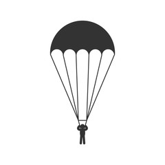 Black isolated silhouette of parachute on white background. Icon of side view of parachutist.