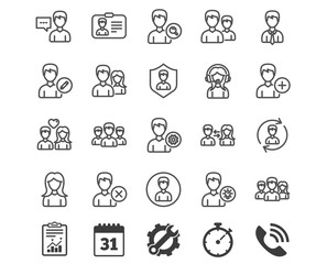 Users line icons. Male and Female Profiles.