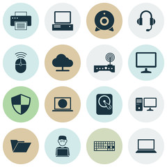 Device Icons Set. Collection Of Tree, Router, Programmer And Other Elements. Also Includes Symbols Such As Machine, Wifi, Broadcast.