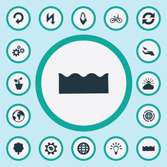 Vector Illustration Set Of Simple Energy Icons. Elements Reuse, Recycling, Planet And Other Synonyms Industry, World And Enviromental.