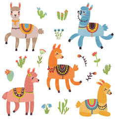 Cute lama vector set