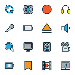 Music Colorful Outline Icons Set. Collection Of Screen, Full Battery, Empty Accumulator And Other Elements. Also Includes Symbols Such As Magnifier, Record, Multi.