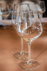 Restaurant table with wine glasses