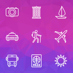Exploration Outline Icons Set. Collection Of Auto, Building, Traveler And Other Elements. Also Includes Symbols Such As Gallery, Camera, Aircraft.