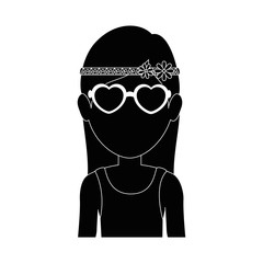 man with glasses icon  over white background hippie style concept vector illustration