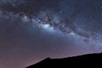 Milky Way landscape Clearly. Milky way above Summit of Rinjani mountain on night sky. Lombok island, Indonesia.