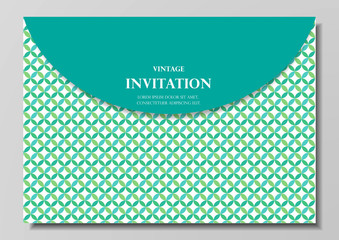 green geometrical invitation card modern design vector