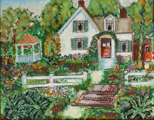 colourful painting of pritty white wouse and garden
