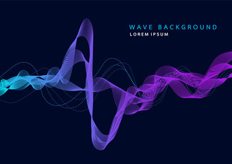 Abstract background with dynamic particle sound waves. Wave of musical soundtrack for record. Vector illustration Fototapete
