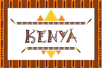 Travel banner Kenya vector. Tribal african illustration. Tourist typography background design for souvenir card, sticker, label, magnet, postcard, stamp, fashion t-shirt print or poster.