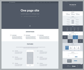 One page website design template for business. Landing page wireframe. Flat modern responsive design. Ux ui website: about us, advantages, features, facts, works, gallery, team, contacts, email, form.