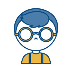 man with glasses icon over white background vector illustration