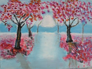 colourful painting sakura trees and subset