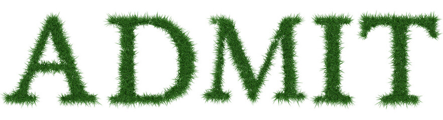 Admit - 3D rendering fresh Grass letters isolated on whhite background.